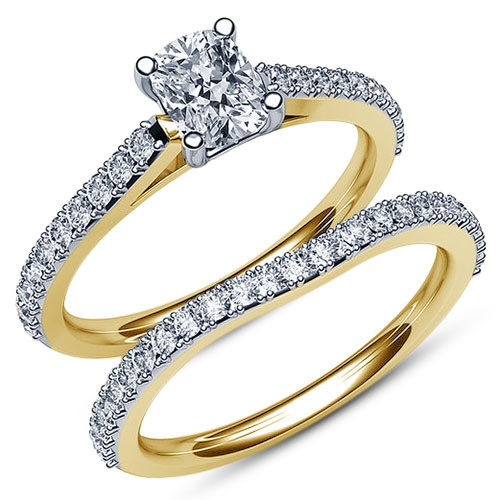 Bridal Engagement Ring Set Oval Shape White CZ 14k Yellow Gold Plated 925 Silver