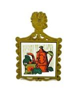 2 Vintage Trivets Artmark Mid Century Avocado Green & Orange Ceramic & C... - $29.50
