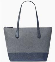 Kate Spade New York Lola Glitter Tote Dusk Blue glitter Shoulder Bag Pur... - $94.00