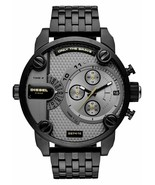 Diesel DZ7410 Daddy Men Black Stainless Steel Grey Dial Chronograph Watch - £97.57 GBP