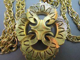 VTG Couture Trifari Pendant Necklace Double Chain Thick Gold Plated Designer EUC image 4