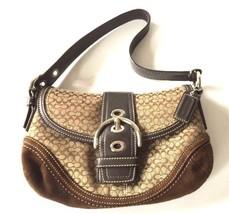 Genuine COACH F10925 Brown Khaki Soho Mini Signature Handbag Shoulder Ba... - $33.65