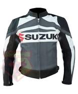 SUZUKI GSXR GRAY MOTORBIKE COWHIDE LEATHER MOTORCYCLE BIKER JACKET - $184.99