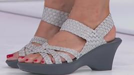 Steve Madden Torrist Woven Wedge Sandal, Silver, Size US 7.5 - $29.69