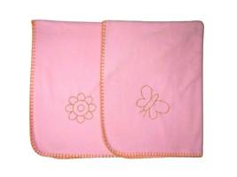IKEA Pink Fleece Orange Butterfly Flower Blanket Lovey 35x38 Girl Stitched Edge - $30.96