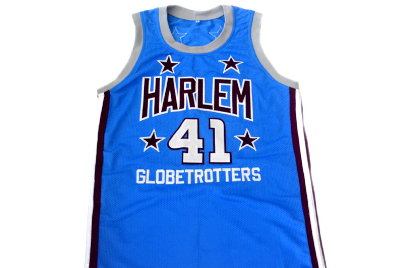 Sweet Lou #41 Harlem Globetrotters New Men Basketball Jersey Light Blue Any Size