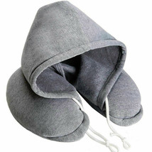Soft Comfortable Hooded Neck Travel Pillow U Shape Airplane Pillow with ... - $9.46