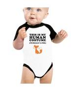 This Is My Human Costume Fox Baby Black And White Baseball Shirt - $15.99