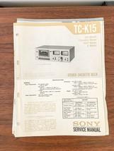 Sony TC-K15 Cassette Service Manual *Original* - $18.53