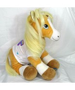 Build A Bear Horse Plush Stuffed Tan White Blue Eyes Blonde Hair 15 in &... - $19.79