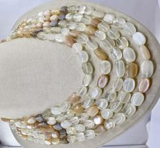 NATURAL MULTI MOONSTONE BEADS CABOCHON 5 LINE 950 CTS GEMSTONE LADIES NECKLACE image 3