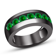 14K Black Gold Finish Solid 925 Silver Round Green Sapphire Pinky Mens B... - $83.99