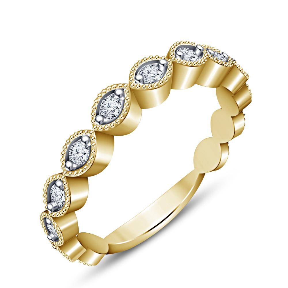Women's Beautiful Bridal Wedding Ring Set 14k Yellow GP 925 Silver Round Cut CZ