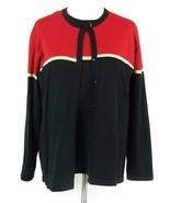 Dressbarn Size 18W 20W Red Black Color Blocked Cardigan Lightweight Shim... - $19.99