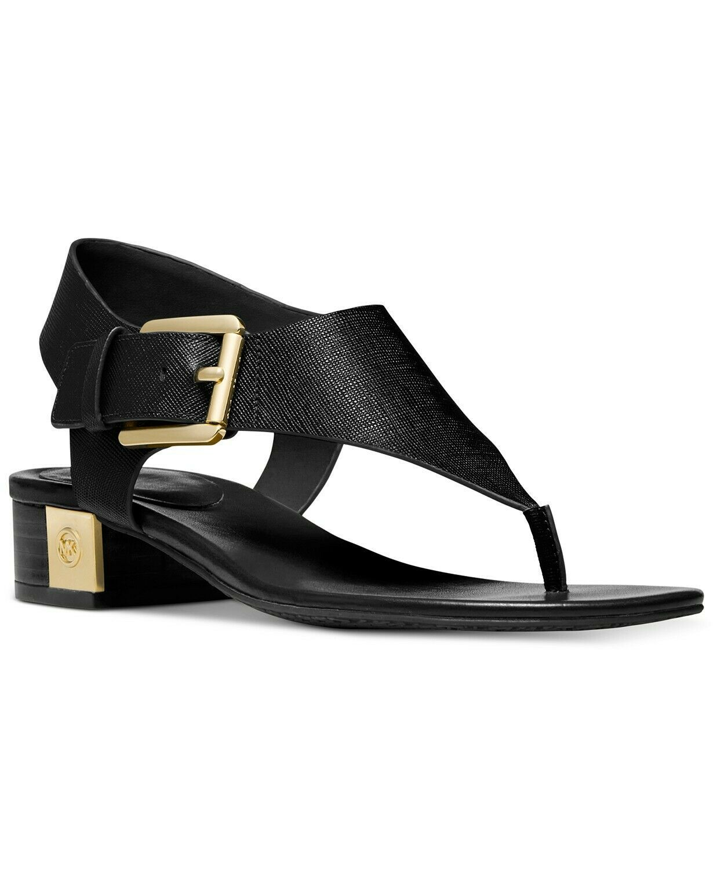MICHAEL Michael Kors London T-Strap Thong Black Sandals Size 7 - $108.89