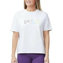 FILA Womens White T-Shirt w/ Multicolor Graphic Logo Size Large - $18.99