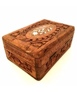 Vintage Trinket Jewelry Box Shell Inlay Hand Carved in India 5 inches Long - $17.81