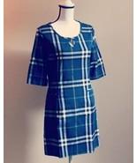 NEW Boutique Navy Blue PLAID Nova Check Cotton Tunic Shift Dress XS, S, M - $13.99