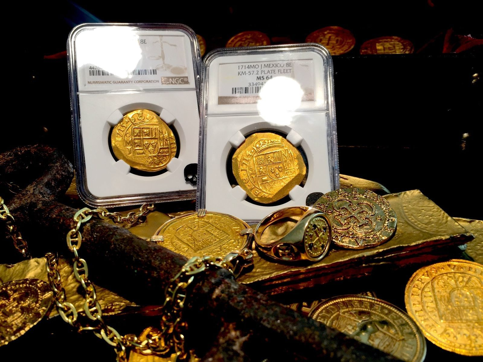 "MEXICO 1715 ""FULL DATE FLEET SHIPWRECK"" 8 ESCUDOS NGC 58 GOLD COB TREASURE COIN"