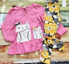 Gymboree 4T Bright Owl Pink Owl Top Yellow Flower Floral Bow Pants Outle... - $18.69