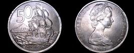 1967 New Zealand 50 Cents World Coin - Elizabeth II - Endeavour - $6.25