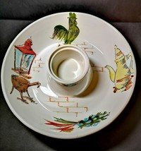 Vintage Funky GREEN ROOSTER 1960's Chip N Dip Bowl Made in Japan - $11.35