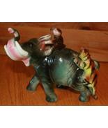 Elefant mit Affe Tiger Reiten Porzellan Keramik Vintage Lipper & Mann Stil - $29.70