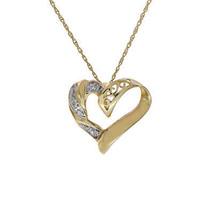 0.01 Carat Round Diamond Heart Pendant on Rolo Link Chain 10K Yellow Gold - $98.01