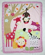 Lambs & Ivy Jelly Bean Jungle Animals Girl Crib Comforter Blanket Intera... - $25.25