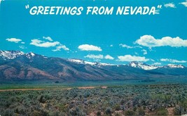 Chrome Postcard NV I503 Greetings from Nevada Ruby Mountains Snow Purple... - $6.50