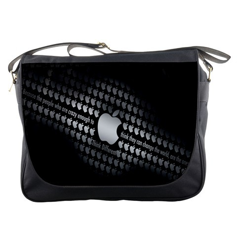 Mb2416 messenger bag apple logo in elegant black animation fanta