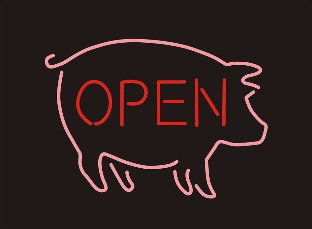 """New BBQ Open Pig Barbecue Beer Neon Sign 24""""x20"""""""