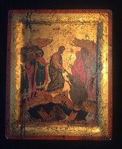 Handmade 80s European Byzantine Icon Art: Resurrection