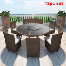 Round Dining Set 12 Seater Rattan Patio Outdoor Table Bench Chairs Clear... - $1,329.41