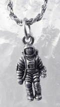 LOOK Astronaut Man on Moon outer space Charm Real Genuine Sterling Silver 925 pe - $16.36