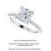 2.85 Carat Cushion Moissanite & Natural Diamond Ring in 14K White Gold - $1,255.50