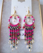 Pretty In Pink - Seed Beads -  Crystals & Pearls - Chandelier Earrings - $24.46