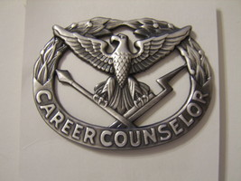 Army Career Counselor Badge Nip 1996 Silver Oxide FINISH:E17 - $6.75