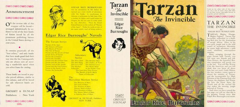 Burroughs, Edgar Rice. TARZAN THE INVINCIBLE facsimile jacket 1st Grosset