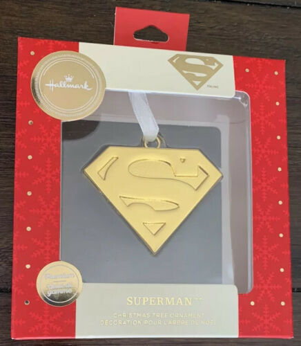 "Primary image for Hallmark Premium Superman Emblem ""S"" Logo Christmas Ornament GOLD 2019 New"