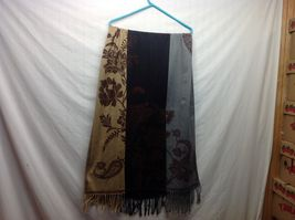 Long Frilly Multicolored Scarf Shawl w Floral Design image 3