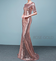Half Sleeve Fit Gold Maxi Sequin Dress Wedding Party Maxi Gold Sequin Dress Gown image 2