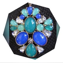 NEW! Long Gold Tone Blue Green Pendant Necklace - $9.50