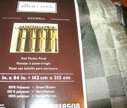 Allen Roth Roswell Rod Pocket Drape Curtain Green w/ Brown 84L NIP Free ... - $25.70