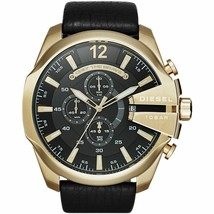 Diesel DZ4344 Mega Chief Black and Gold Leather Chronograph Mens Watch - $139.84 CAD
