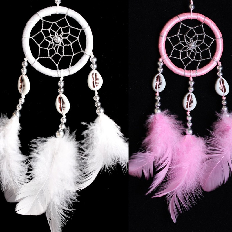 Wall hanging decoration dream catcher circular with feathers dreamcatcher