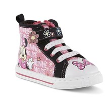 Girls Minnie Mouse Baby Toddler Sneakers Size 6 7 8 9 10 11 or 12 Soft Toe High - $22.99
