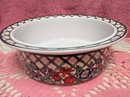 "Dansk Nordic Garden Serving Bowl 9"" Lattice Flowers Portugal - $18.00"