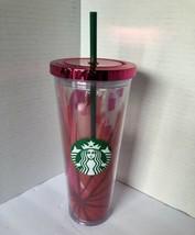 Starbucks 2014 24oz Tumbler Red Pink Rose Floral Pink Metallic Lid & Gre... - $21.30