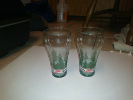 Set of Two Coca Cola Christmas Glasses Tumblers Libby Libbey Tree Holly ... - $35.00